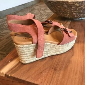 Lucky Brand Naveah Espadrille Pink Wedge Sandals